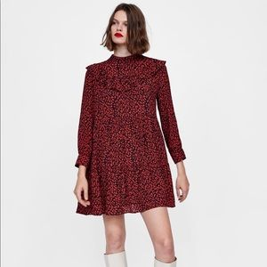 Zara ruffle animal print dress